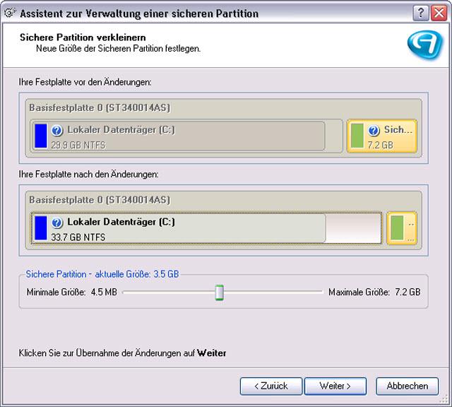 Erstellen Sie einen sicheren Bereich auf Ihrer Festplatte, der ausschliesslich für Sicherungdateien verfügbar ist.