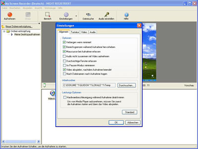 My Screen Recorder benutzt Video- und Audio-Kompressionsprogramme, die auf Ihrem PC installiert sind, um die Größe der Bildschirmaufnahmen zu reduzieren. Dadurch kann es bei einigen Kompressionsprogrammen zu einer Zeitverschiebung des Audio-T