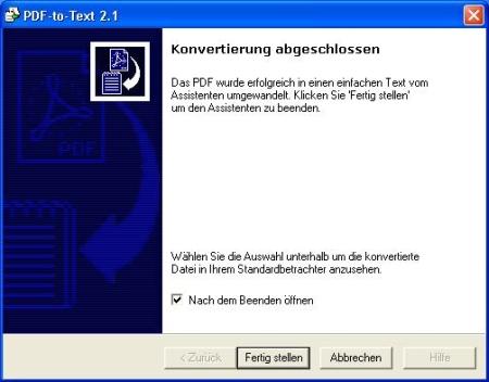 Nach der Konvertierung können Sie noch wählen, ob Sie die konvertierte Datei direkt ansehen möchten.