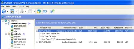 Mit dem Network Activity Monitor von Outpost werden alle Internetverbindungen Ihres Computers überwacht. Sie erhalten sofort eine Warnmeldung, wenn der Verdacht auf eine unberechtigte Übertragung besteht, und können daher sofort entsprechende Gegenmaßnahmen ergreifen: