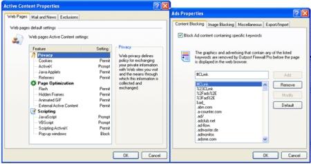 Mit dem Schutz fr aktive Inhalte von Outpost werden eventuell gefährliche Skripte gesperrt, um Browser Hijacking vorzubeugen und Websitekomponenten zu sperren, die dazu geeignet sind, Ihr Surfverhalten und Ihre Onlineaktivitäten auszuspionieren: