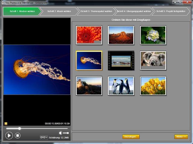 Laden Sie die Medien hoch und wählen Sie die Fotos, Videos oder Bilder, die Sie verwenden wollen