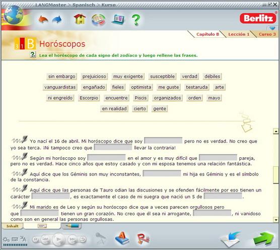 In dieser Übung geht es darum, Vokabeln aus einem bestimmten Themenfeld korrekt in Sätze einzufügen.