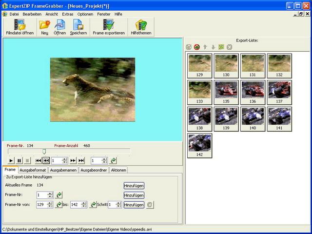 Der FrameGrabber zieht einzelne Bilder aus Filmen (AVI, MPG, MOV) heraus