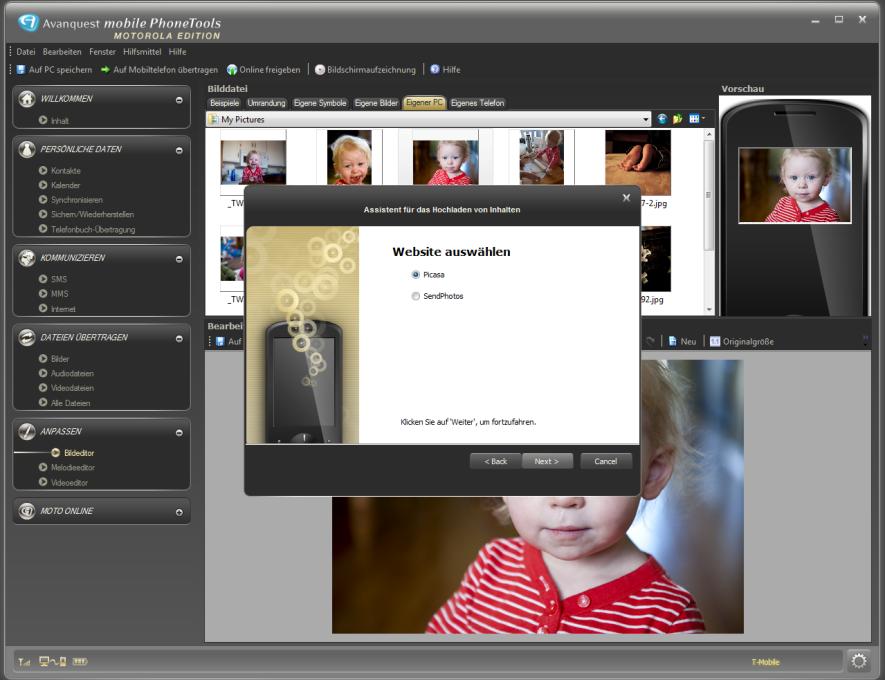 Bearbeiten Sie zunächst die mit Ihrem Handy gemachten Fotos und senden Sie sie dannauf Ihren PC, Picasa oder SendPhotos.