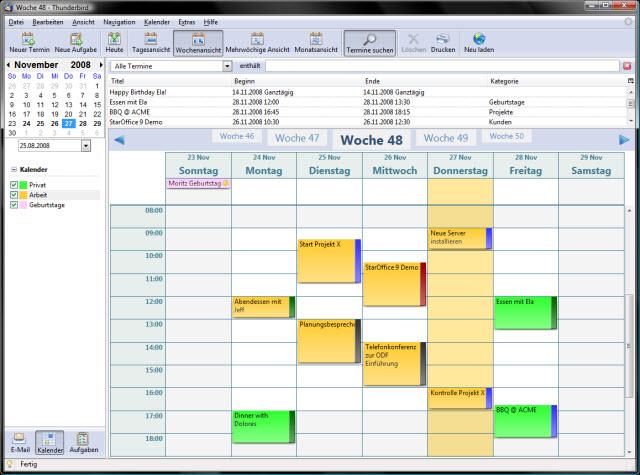 Mit der Erweiterung Lightning ist der mitgelieferte E-Mail-Client ein vollwertiger PIM, mit Terminverwaltung und Kalenderfunktion.