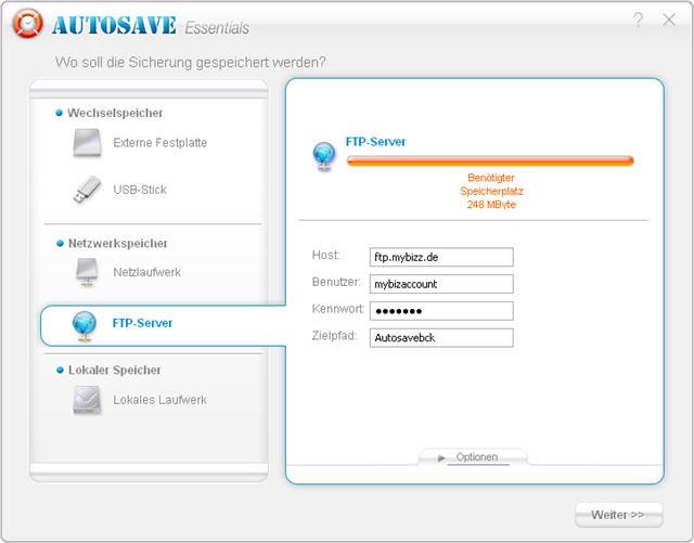 Speicherung auf einem FTP (File Transfer Protocol)