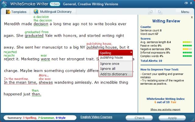 ¡Para un inglés escrito literario perfecto!