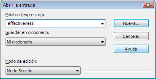 La creación de diccionarios de usuario te ayudará a optimizar el programa para utilizarlo con tu terminología específica. La suma de nuevas palabras a través del modo simple utiliza la selección automática, lo que hace que todo el proceso resulte m