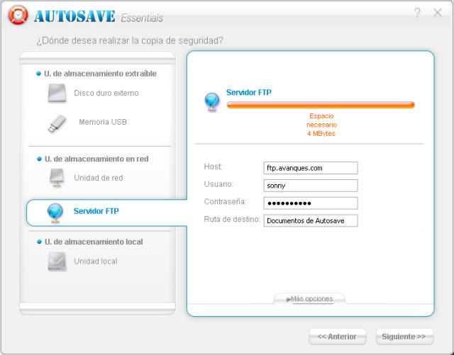 Respaldar en un FTP