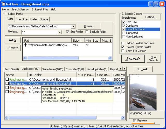 Prévisualisez les fichiers, vérifiez leur versions et leurs propriétés avant de décider ou non de les supprimer.