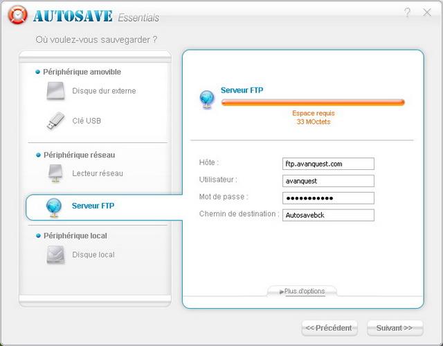 Sauvegarde sur un FTP
