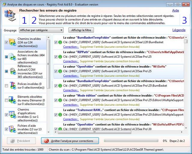 Visualisation des erreurs du registre par niveau de sécurité ou catégorie derreur