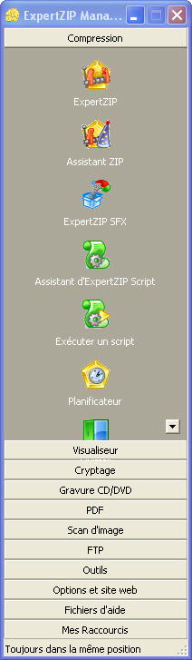 La version standard du logiciel de compression