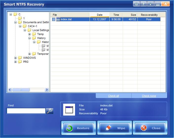 Per recuperare file system NTFS