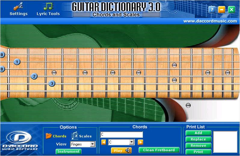 D'Accord Guitar Chord Dictionary v3.0 for Windows XP/2000 ...