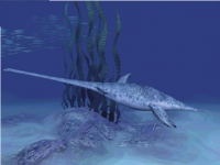 Follow an Elasmosaurus as it searches the sea bed for food