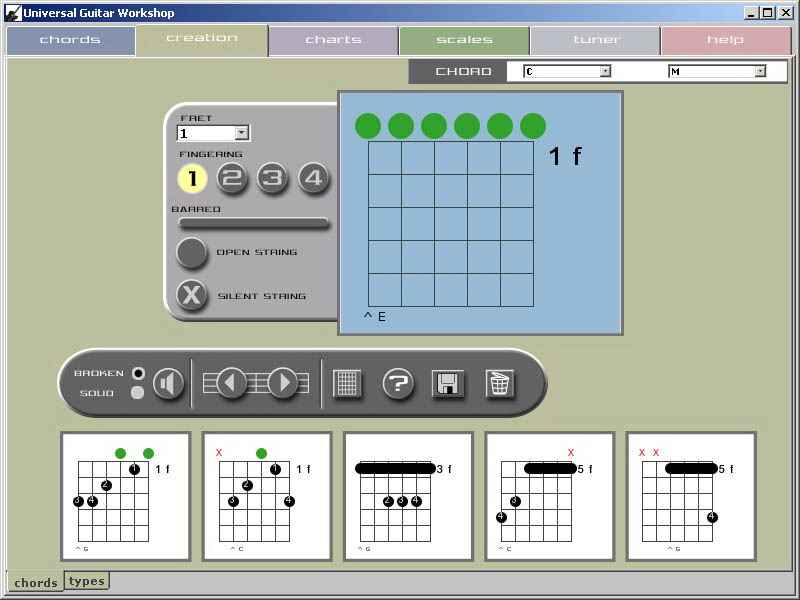 Interactive chord library, chord editing, 900 scale positions, grid  editing and digital tuner.