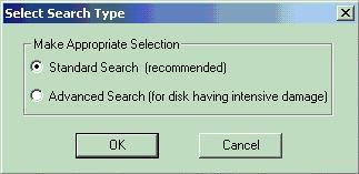 Select the type of search you wish to run (standard or advanced).