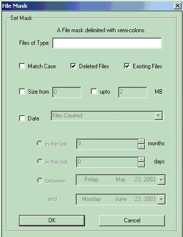 Filter displayed files by file type, size, date, etc. thanks to  file mask functionality.