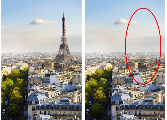Eiffelturm vorher nachher - rot eingekreist