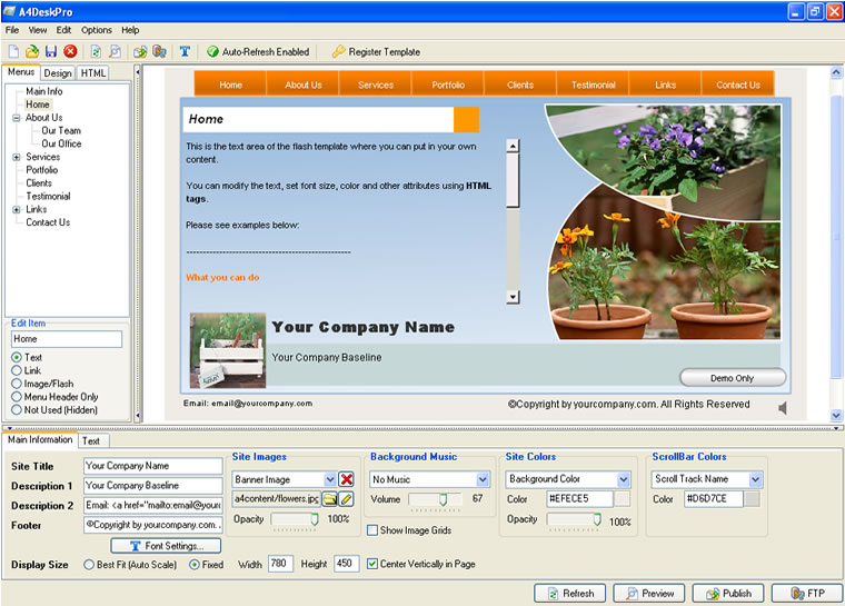 A4deskpro is a powerful easy to use all in one flash for Home building websites