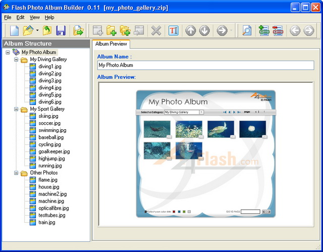 An instant preview of your photo album in the software interface.