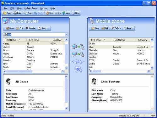 Synchronize your PC and cell phone contacts