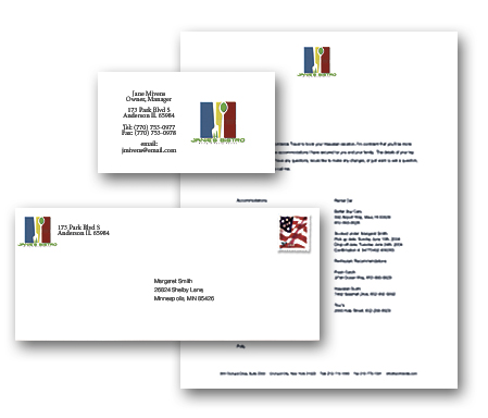 Preview and print your logo on your business cards, letterheads and brochures.