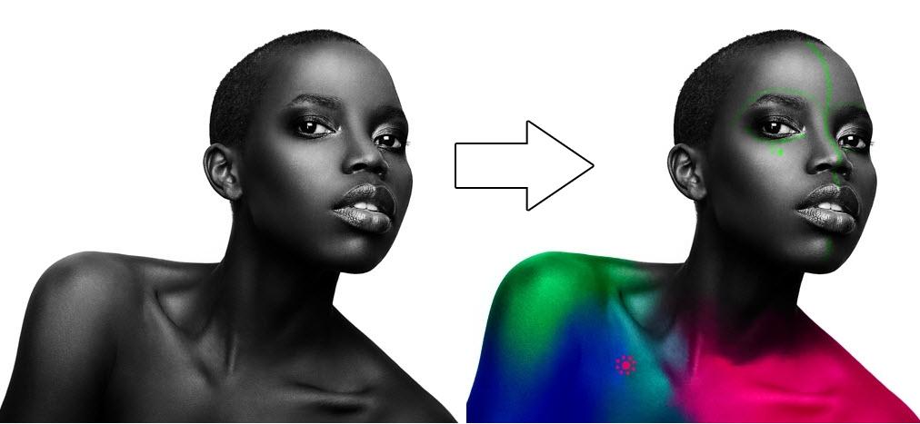Frau mit Farben