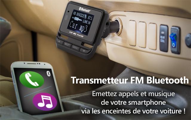 transmetteur fm bluetooth appelez et coutez de la musique via les enceintes de votre voiture. Black Bedroom Furniture Sets. Home Design Ideas