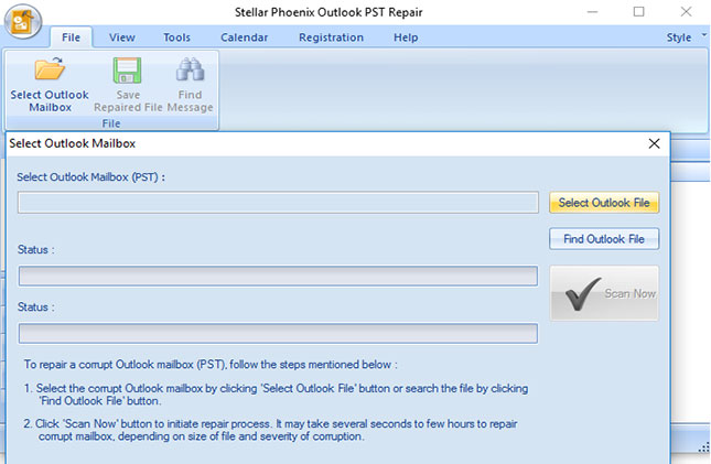 Repairs corrupt/damaged Outlook PST file and recovers all mail items