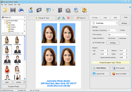 Create your own professional quality passport photos.