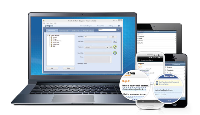 Automatically stores and inserts passwords. Fast and secure on PCs and Smartphones